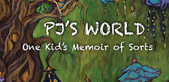 PJ's-World book cover showing painting of tree branches with brown bark and green leaves