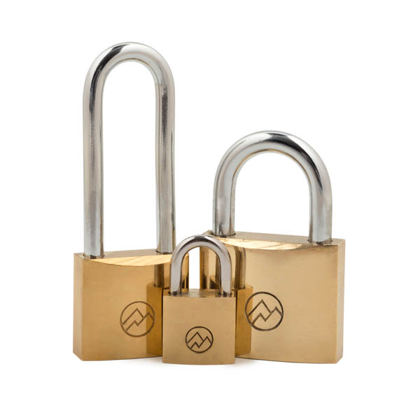 product photography group shots of brass padlocks with a round logo of mountain