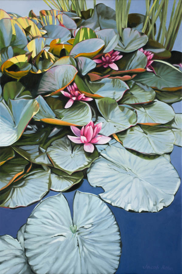 beautiful photo of oil painting with green Lilly pads and pink Lillies