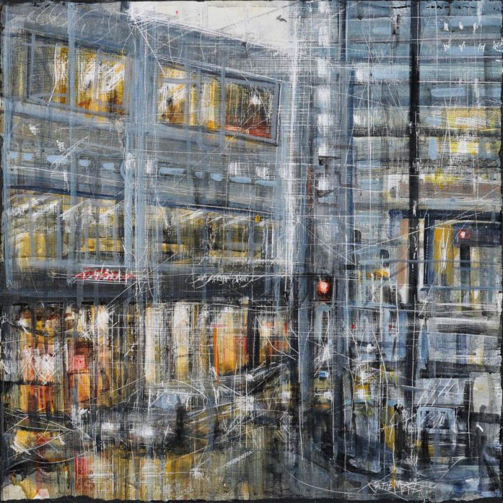 photography of painting featuring a wet cityscape with gray, yellow and red paint on a scrapped canvas.