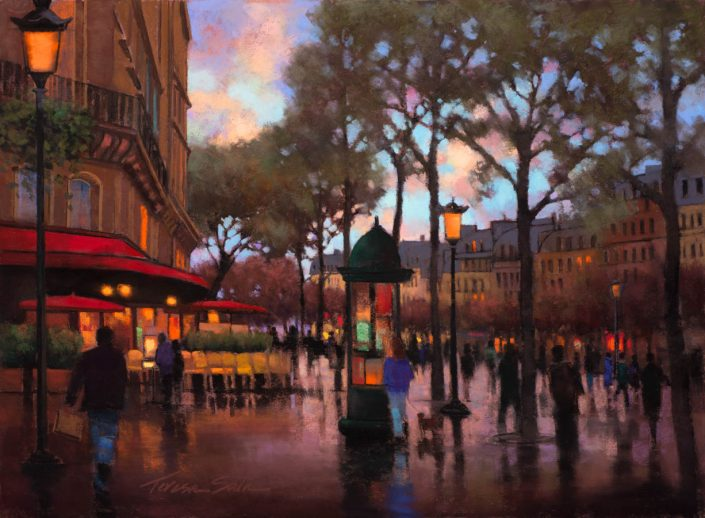 quality painting photography Seattle Painting of café with high saturation of color, rain washed sidewalk reflecting color